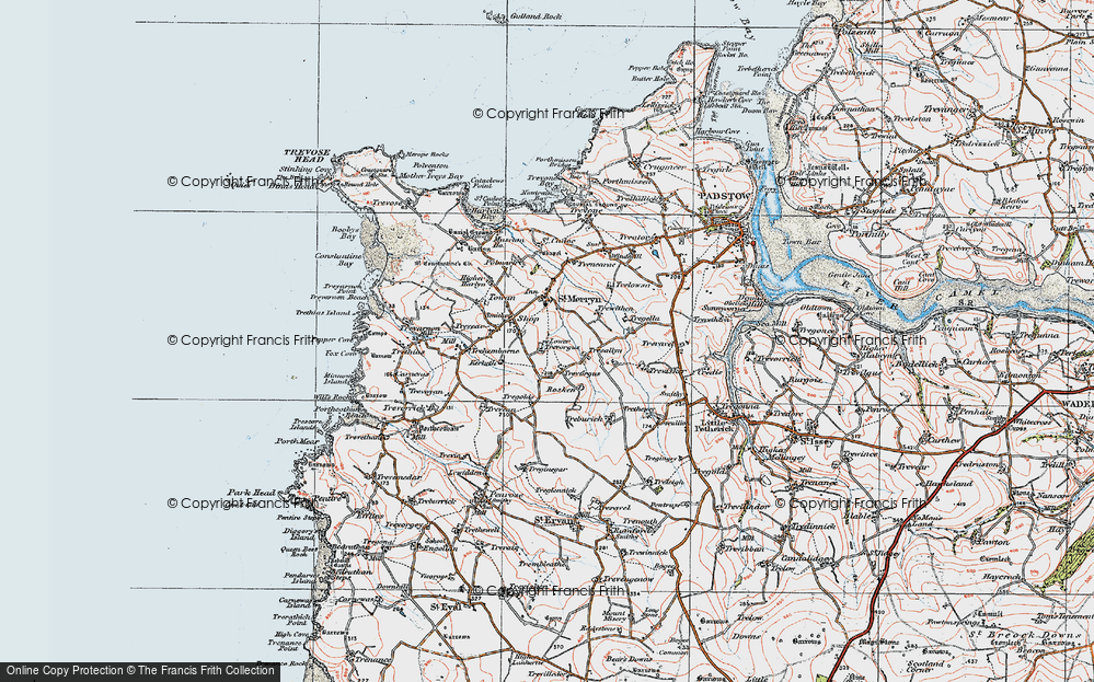 Old Map of St Merryn, 1919 in 1919