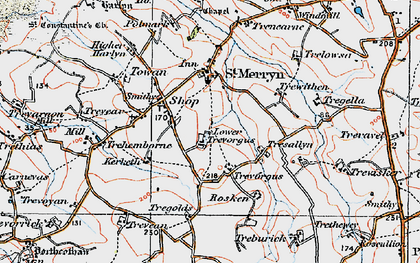 Old map of St Merryn in 1919