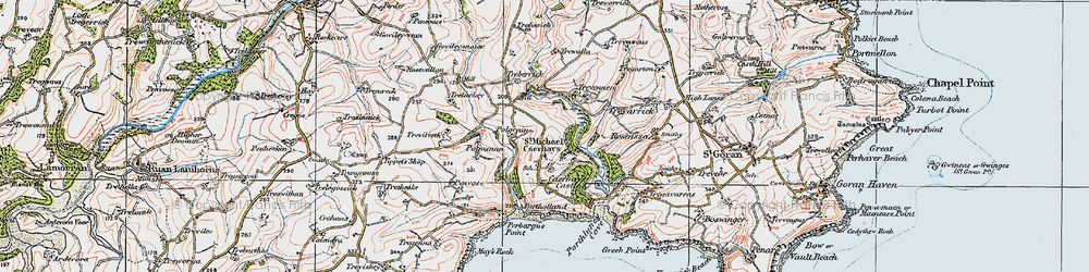 Old map of St Michael Caerhays in 1919