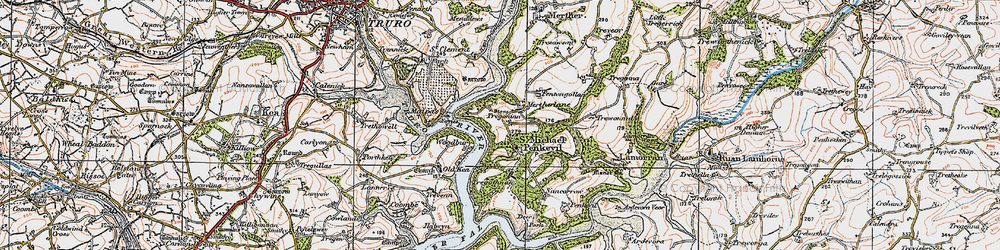 Old map of St Michael Penkivel in 1919