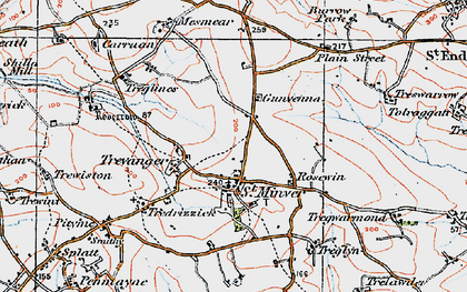 Old map of St Minver in 1919