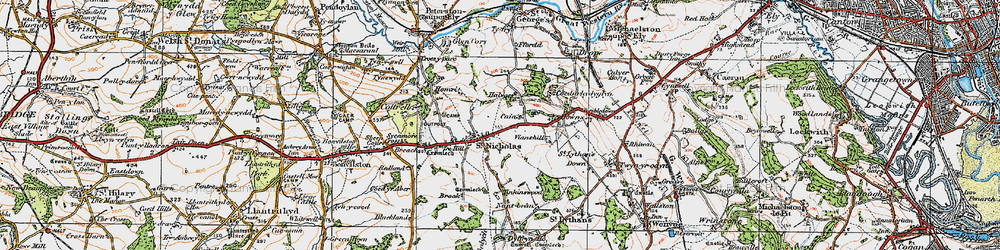 Old map of Tinkinswood in 1919