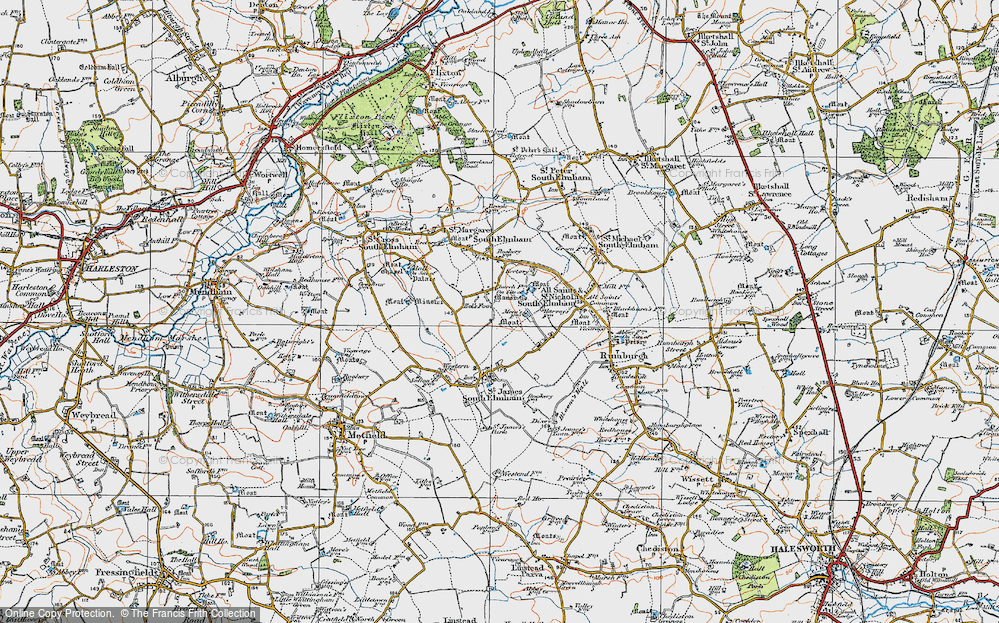 Old Map of St Nicholas South Elmham, 1921 in 1921