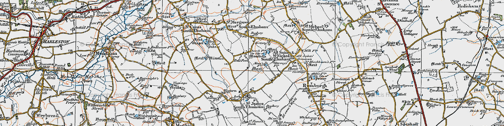 Old map of St Nicholas South Elmham in 1921