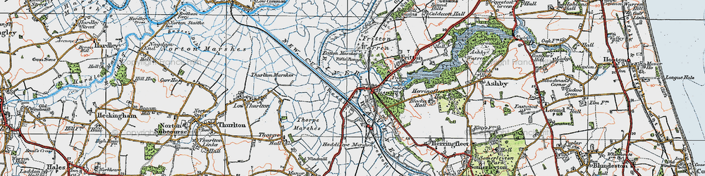 Old map of St Olaves in 1922