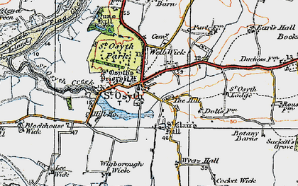 Old map of St Osyth in 1921