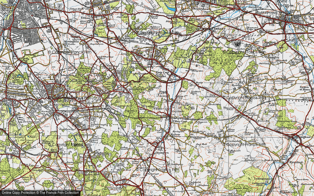 Map of St Pauls Cray 1920 Francis Frith