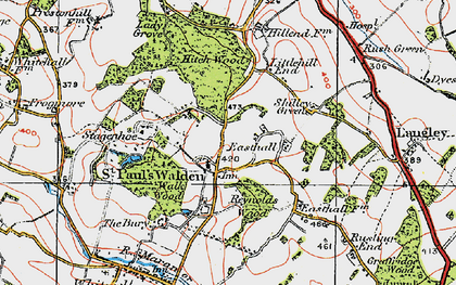 Old map of St Paul's Walden in 1920