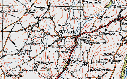 Old map of St Teath in 1919
