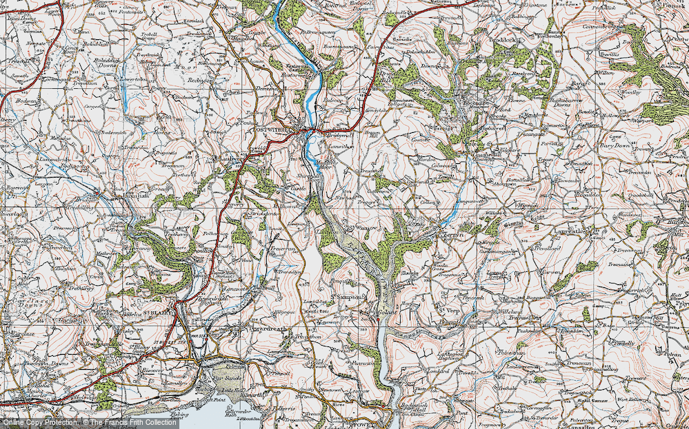 Old Map of Historic Map covering Lantyan Wood in 1919