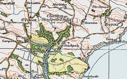 Old map of Stackpole in 1922