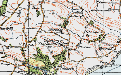 Old map of Stackpole Elidor in 1922