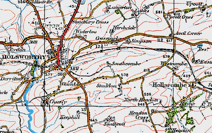 Old map of Arscott in 1919