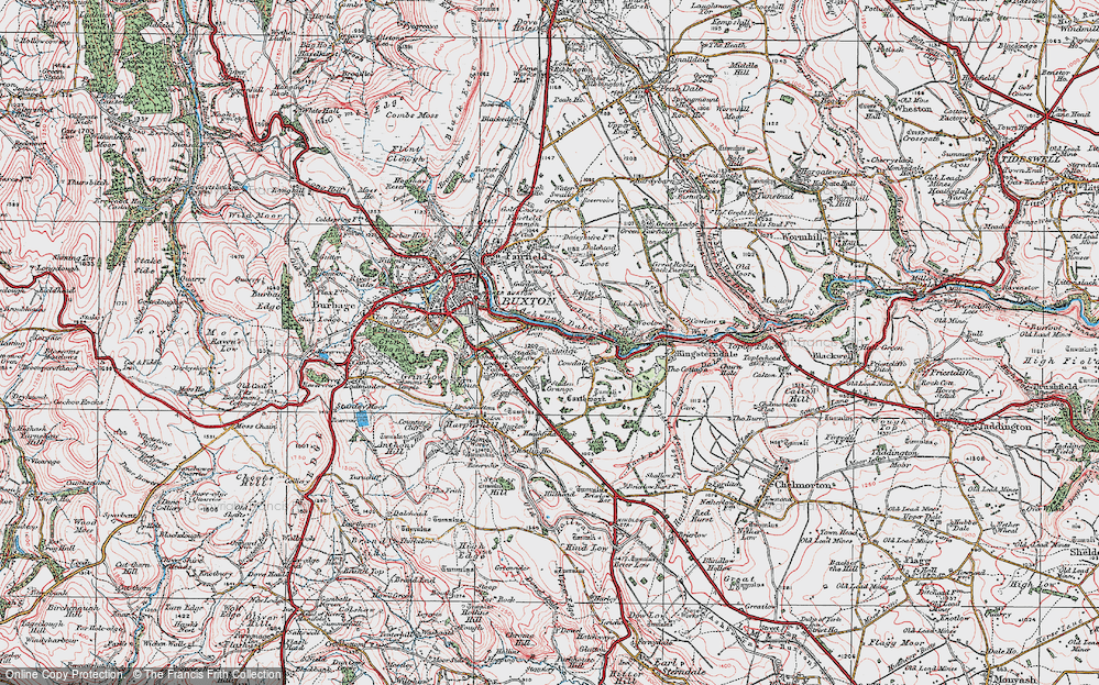 Old Map of Historic Map covering Ashwood Dale in 1923