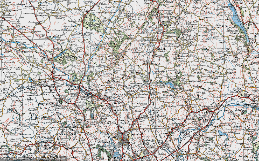Old Map of Historic Map covering Thursfield Lodge in 1923