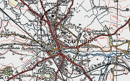 Old map of Stafford in 1921