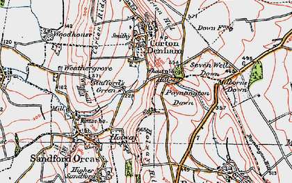 Old map of Wheat Sheaf Hill in 1919