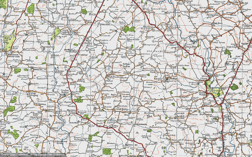 Old Map of Historic Map covering Acreland Green in 1919