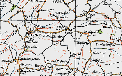Old map of Acreland Green in 1919