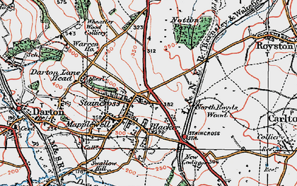Old map of Staincross in 1924