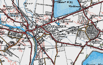 Old map of Staines in 1920