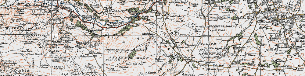 Old map of Whit Fell in 1925