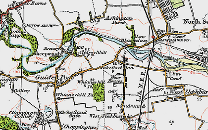 Old map of Stakeford in 1925