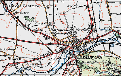 Old map of Stamford in 1922