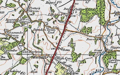 Old map of Standon Green End in 1919