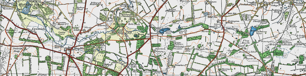 Old map of Widdowshill Plantn in 1921