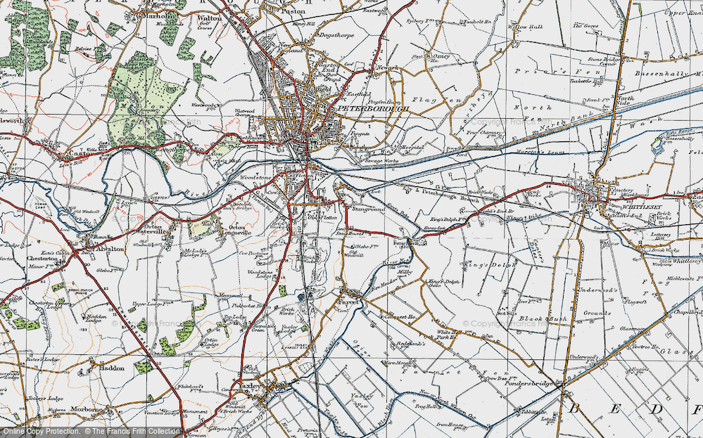 Old Map of Stanground, 1922 in 1922