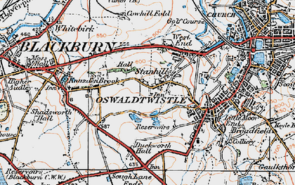 Old map of Stanhill in 1924
