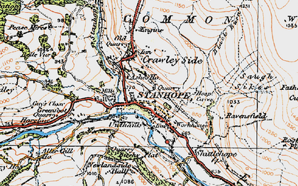 Old map of Stanhope in 1925