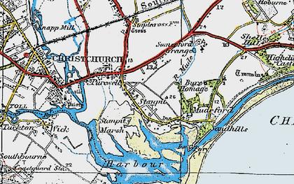 Old map of Hengistbury Head in 1919