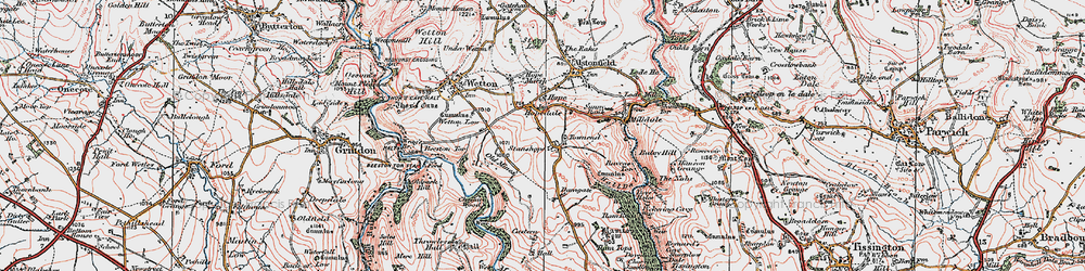 Old map of Wetton Low in 1923