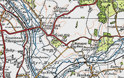 Old map of Stanstead Abbotts in 1919