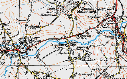 Old map of Stanton Drew in 1919