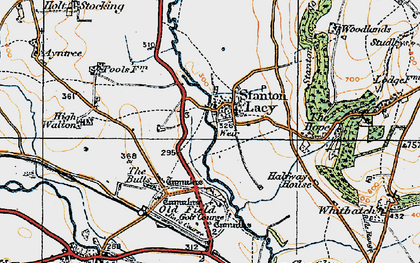 Old map of Stanton Lacy in 1920