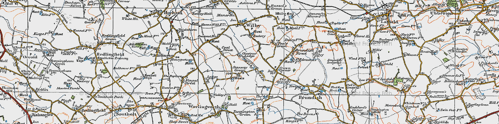 Old map of Wilby Green in 1921