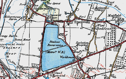 Old map of Stanwell in 1920