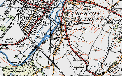 Old map of Stapenhill in 1921