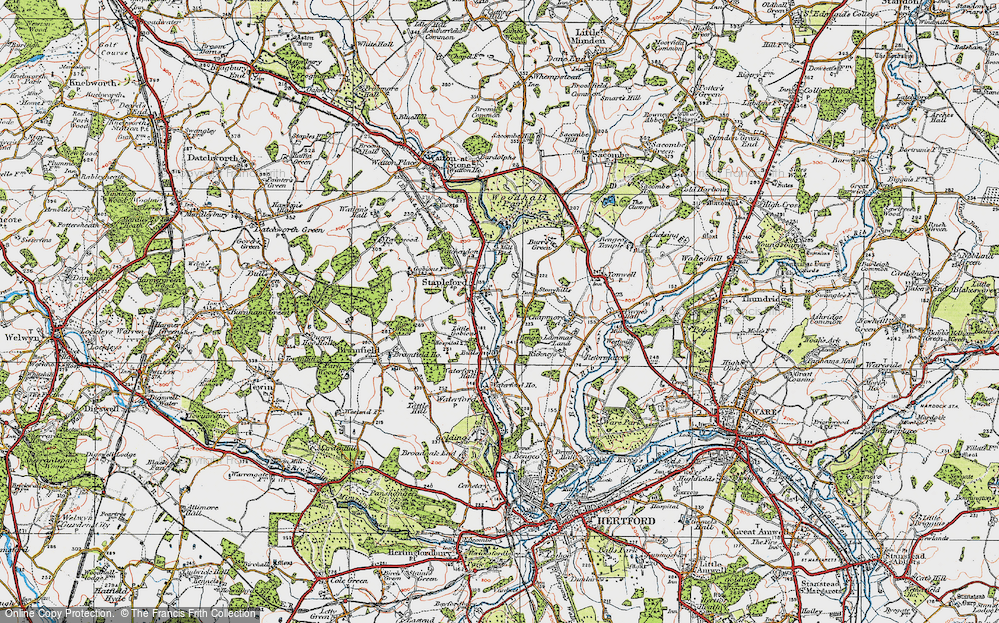 Old Map of Historic Map covering Woodhall Park in 1919