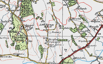 Old map of Stapleford Tawney in 1920