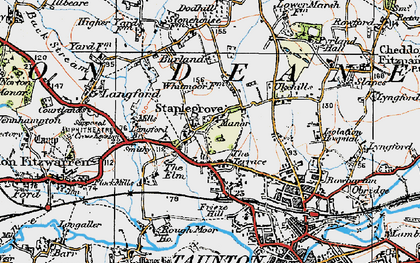 Old map of Staplegrove in 1919