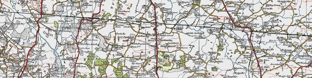Old map of Staplehurst in 1921