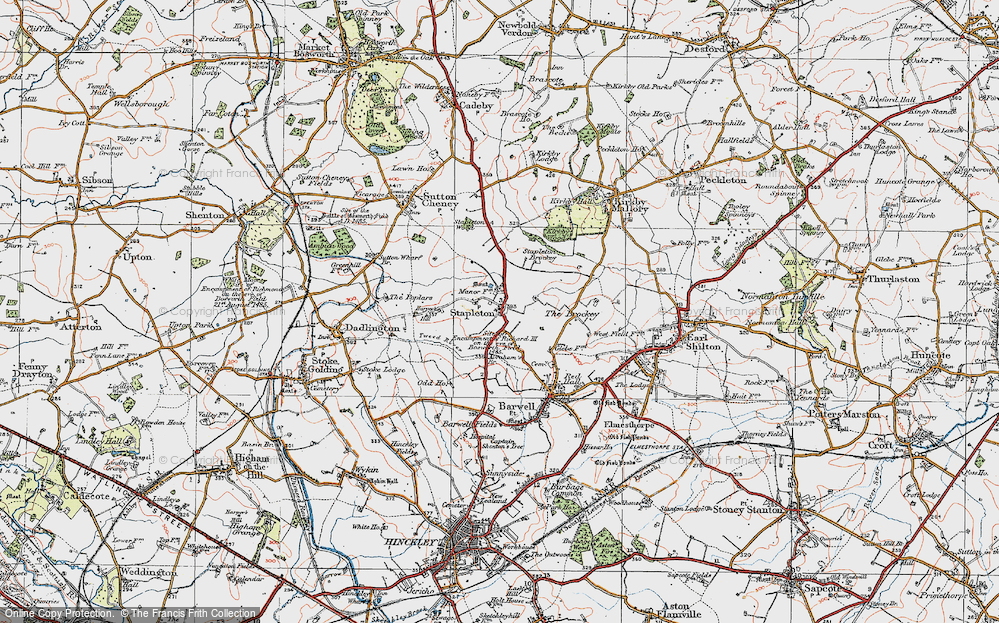 Old Map of Historic Map covering Abraham's Br in 1921