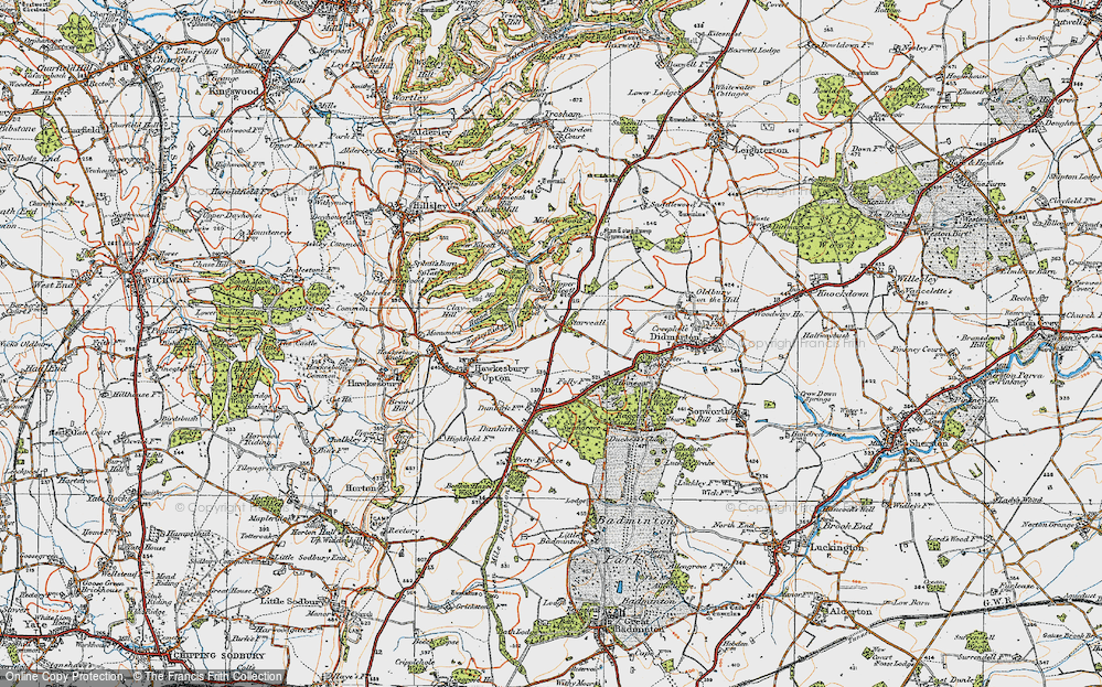 Old Map of Historic Map covering Bangel Wood in 1919