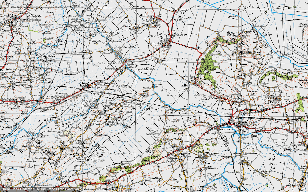 Old Map of Historic Map covering Aller Moor in 1919