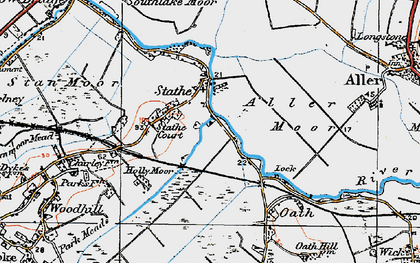 Old map of Aller Moor in 1919