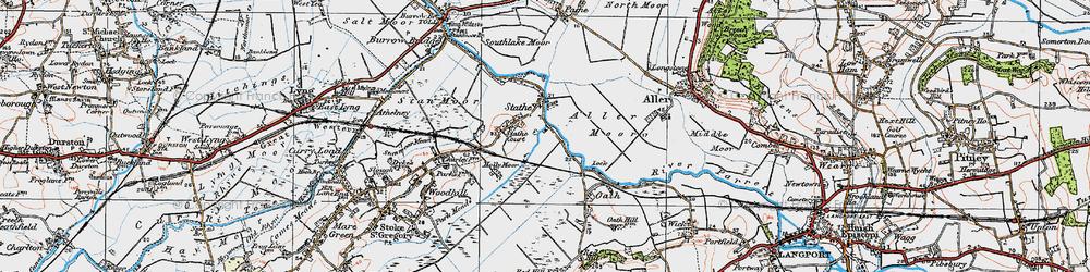Old map of Aller Moor in 1919